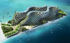 Проект «Коралловый риф», Гаити - это детище архитектора Винсен Каллебо, который попытался решить проблему устойчивости конструкций к землетрясениям. Две тысячи модульных домиков объединены в волнообразную конструкцию, построенную на антисейсмических сваях. Дома работают на энергии волн, а внутри есть все удобства.
