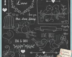 "Chalkboard Art ""Wedding Love Birds"" clip art for announcements, invitations, Valentines, weddings"
