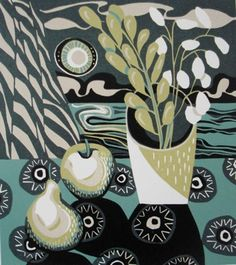 Black Circles ~ Linocut Reduction ~ Jane Walker