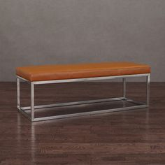 Manhattan Tan and Stainless Steel Leather Bench