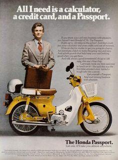 Honda Passport C70. Yellow. Scooter. Ad.