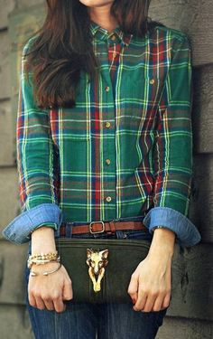 green + red plaid flannel shirt + chambray