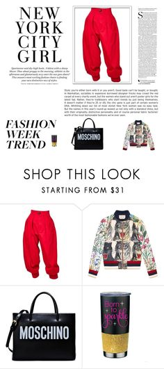 """""""NY city girl"""" by folloui on Polyvore featuring Yves Saint Laurent, Gucci, Moschino and H&M"""