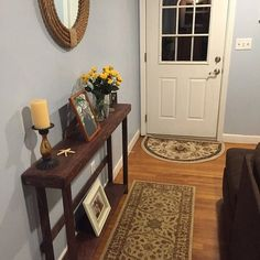 Rustic Entryway, Entryway Tables, Rustic Sofa Tables, Red Mahogany Stain, Wood Display, Custom Woodworking, How To Distress Wood, Rustic Furniture, Thin Legs
