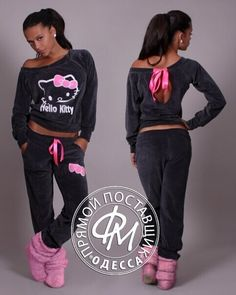 Hello Kitty Print Backcross Activewear Two Pieces Suit