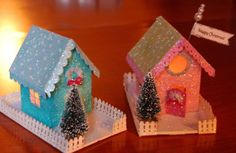 Project - Glitter Houses diy... http://www.twopeasinabucket.com/gallery/member/276970-sarahiscrafty/1558366-glitter-houses/