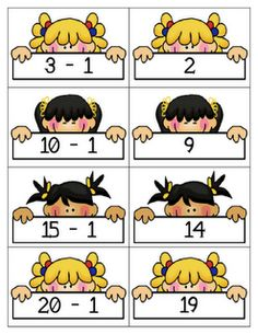 """Play concentration with these card sets. You'll find a set for """"One Less"""" and another for """"One More."""""""