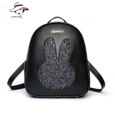 307a0a6d71da Women Backpack Leather Fashion Female Backpack Male For Girl Travel Lovely School  Bag Female Rucksack Vintage Rabbit Designer