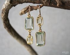Citrine & Prasiolite Earrings Perfect Gift by ATELIERGabyMarcos, $139.00