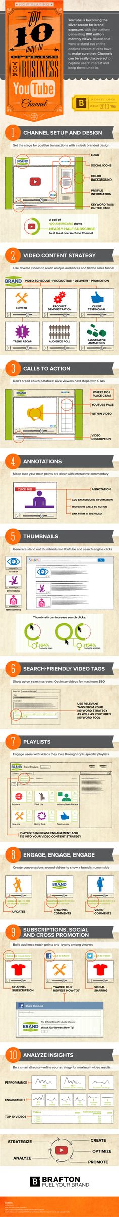 """""""Top 10 Ways to Optimize Your Brand's #YouTube Channel"""" #INFOGRAPHIC #Entrepreneur"""