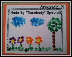 "All about me...fingerprint art!  ""Made by 'thumbody' special""."