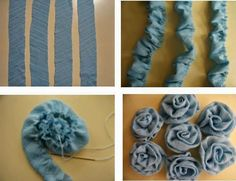 Find out how to increase your an understanding of fabric scrapsLet's make flowers: Let's make flowers - Diy And Home Denim Flowers, Cloth Flowers, Fabric Roses, Fabric Crafts, Sewing Crafts, Sewing Projects, Artisanats Denim, Denim Ideas, Denim Crafts