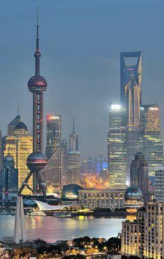 Shanghai cityscape beside Huangpu River