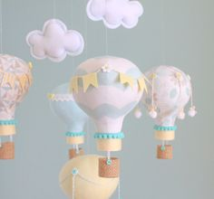Hot Air Balloon Baby Mobile Aqua Grey Yellow by sunshineandvodka