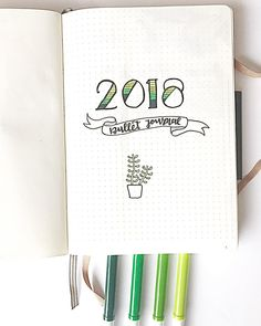 Bullet journal yearly cover page, plant drawing. @bujobycindy