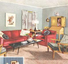 Living room mid century decor 1950s house interior design furniture furnishings vintage house interior design. $10.95, via Etsy.