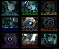 Portal Cores, my fav is the ture neutral AKA. Portal 2, Portal Memes, Portal Wheatley, Aperture Science, You Monster, Chaotic Neutral, Gaming Memes, Indie Games, Humor