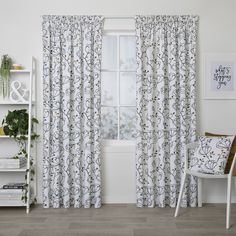 For your sliding doors - placed high to make the room look bigger Pottery Barn Lucianna Medallion Pole Pocket Drape, 50 x Gray Curtain Blue Green Bedrooms, Bedroom Green, Master Bedroom, Pleated Curtains, Grey Curtains, Bedroom Curtains, Window Curtains, Buy Curtains Online, Front Rooms