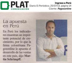 Pagosonline: Ingreso al mercado peruano con la marca PayU Latam en el diario El Periódico de Colombia (25/07/13)