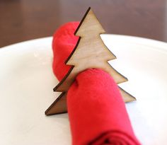 Christmas Tree Wood Napkin Rings, Pine Tree, Laser Cut Set of 4 Large | tiffzippy - Seasonal on ArtFire