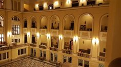 The University of Debrecen from the inside - A Debreceni Egyetem épülete belülről kivilágítva. Korábbi neve Kossuth Lajos Tudományegyetem