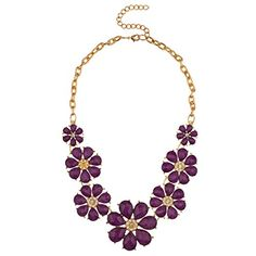Lux Accessories Gold Tone and Purple Acrylic Flower Floral Statement Necklace