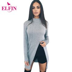 패션 스웨터 여성 긴 소매 니트 스웨터 스웨터 높은 분할 밑단 캐주얼 니트웨어 솔리드 여성 의류 LJ5765R