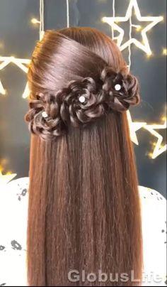 Bun Hairstyles For Long Hair, Braids For Long Hair, Cute Hairstyles, Hairstyles For Girls Easy, Long Braids Styles, Simple Braid Styles, Easy Hair Styles Quick, Simple Hair Updos, Hairstyles For Long Hair Wedding