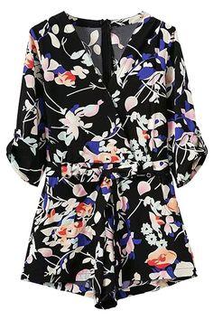 Pocket Design Belted Floral Playsuit