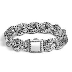 John Hardy Classic Chain Medium Braided Engravable Clasp Bracelet