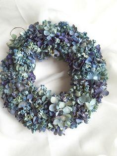 ブルー紫陽花のシンプルリース   ハンドメイドマーケット minne