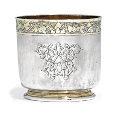 A GERMAN PARCEL-GILT SILVER BEAKER -  MAKER'S MARK A CROSS ABOVE AN OPEN TRIANGLE CENTRED BY A BEAD, IN CIRCULAR PUNCH, UNTRACED, AUGSBURG, PROBABLY LATE 16TH CENTURY, A LATER CONTINENTAL CONTROL MARK TO RIM
