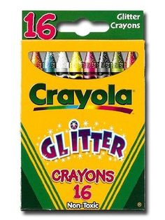 Crayola Glitter Crayons box of 16 by Crayola. $5.16. Crayon Size - 3 5/8 x 5/16 in. Age Recommendation - Ages 4 and Up. Color(s) - Assorted. Catalog Publishing Type - Crayons-Color. Compliance, Standards - AP Certified Nontoxic. Glitter Crayons. 16 crayons that sparkle in every color! Tip: Color over the same area several times for more sparkle. Non-toxic. Conforms to ASTM D 4236.