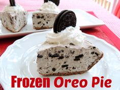 Frozen Oreo Pie - milk, white chocolate pudding mix, Oreos and cool whip are put into a cookie pie crust and frozen. Not much else to it.