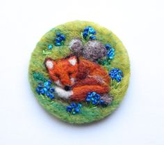 Fox brooch Needle felted brooch 'Fox in the by iwantcraft on Etsy