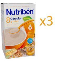 La papilla Nutribén 8 cereales está elaborada con los mejores cereales trigo, maíz, arroz, avena, cebada, centeno, mijo y sorgo. Enriquecida con miel, naranja, manzana, piña y plátano que le aportan un suave y delicioso sabor además de vitaminas y minerales.