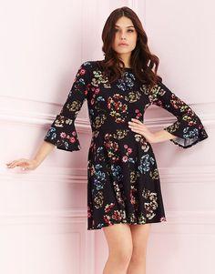 Lipsy-Printed-Bell-Sleeve-Skater-Dress