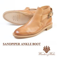 The SANDPIPER tan ankle boots. The boot features the signature Windsor & Wales cherry blossom printed on the leather insole.
