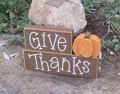 GIVE THANKS BLOCKS with a pumpkin for desk, shelf, mantle, holiday, November, Thanksgiving, and home decor. $14.50, via Etsy.