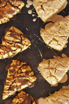 pumpkin scones with molasses and maple glaze