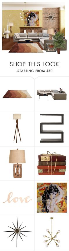 """Retro reading room"" by laash85 ❤ liked on Polyvore featuring interior, interiors, interior design, home, home decor, interior decorating, MCM, B&B Italia, Andrew Martin and Primitives By Kathy"
