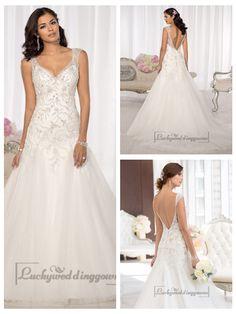 Elegant Beaded Cap Sleeves Sweetheart Embellished Wedding Dresses with   Low V-back http://www.ckdress.com/elegant-beaded-cap-sleeves-sweetheart-  embellished-wedding-dresses-with-low-vback-p-2004.html  #wedding #dresses #dress #Luckyweddinggown #Luckywedding #wed #clothing   #gown #weddingdresses #dressesonline #dressonline #bridaldresses