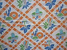 Sombreros Mexican Pottery Print Vintage 1930's 40's  Tablecloth - totally matches my Fiestawear, I NEED it!