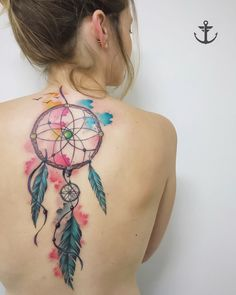Tattoo By Felipe Bernardes, Brazilian Tattoo Artist   watercolor Dreamcatcher - filtro dos sonhos #tattoo #tatuagem #aquarela #watercolor #girl #felipebernardes