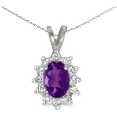 10k White Gold Oval Amethyst And Diamond Pendant (Chain NOT included) ($237) ❤ liked on Polyvore featuring jewelry, pendants, pendant jewelry, white gold diamond jewelry, oval pendant, diamond pendant jewelry and amethyst jewelry