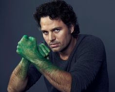 "lol Look at Mark Ruffalo he's all ""Look at me, I fell in green paint, but I'm o.k. cause I'm just so tough, I survived that fall AND the paint!"""