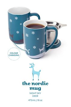 Love my Nordic Mugs! When you pour in hot water the scene changes to white! Coffee Shop, Coffee Cups, Coffee Time, Davids Tea, Cold Drinks, Beverages, My Cup Of Tea, Tea Recipes, Coffee