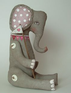 Elephant-- Hand Painted Original Folk Art Cloth Doll