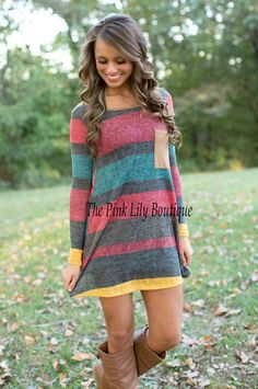 The Pink Lily Boutique - That's The One Stripe Tunic Dress Red , $37.00 (http://thepinklilyboutique.com/thats-the-one-stripe-tunic-dress-red/)