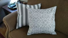 New Today! Handmade 20x20 envelope style back indoor/outdoor fabric. I have 5 of the printed pillow, 3 of the striped fabric. Both are Grey/White. Would look great in a bedroom, chair, patio, sunroom, deck etc. Would look great with my other listing grey/white polka dots. $10.00 each janistruesdale@yahoo.com